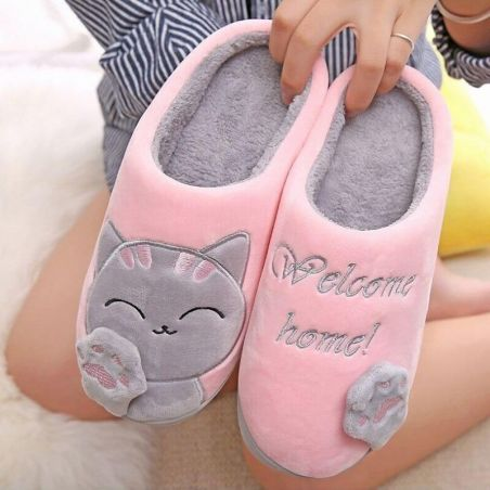 Chaussons femme motif chat