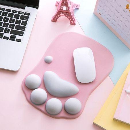 tapis de souris rose repose poignet chat
