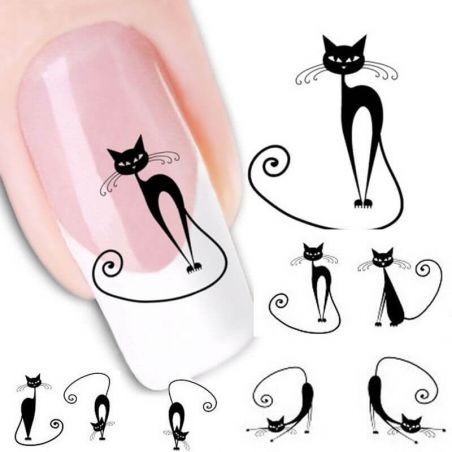 stickers ongles chat