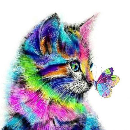 peinture par numéro chat multicolore