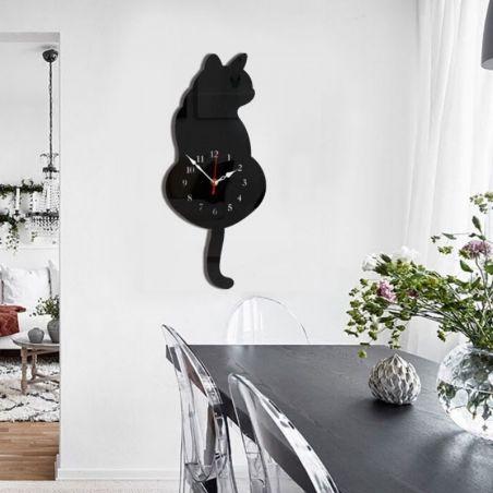 horloge murale chat noir
