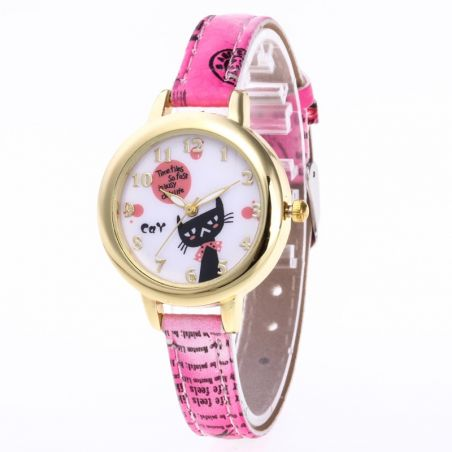 Montre chat rose