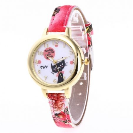 Montre chat bracelet rouge