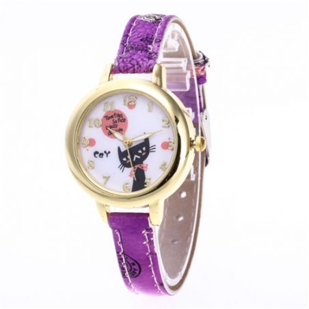 Montre fille motif chat