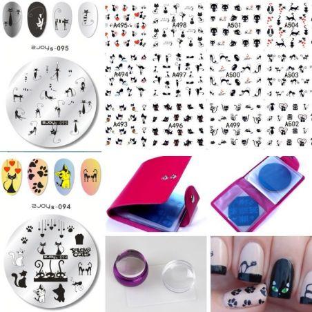 nail art motif chat