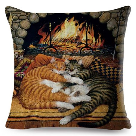 housse coussin chat 45x45